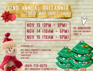 2015 Britannia Christmas Craft Fair Poster web